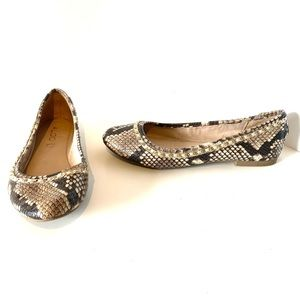 Aldo | leather brown snakeskin print round toe flats with gold chain